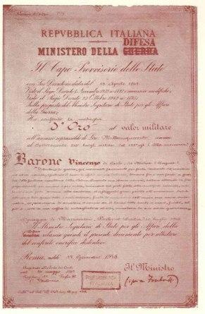 Medaglia d'oro barone Vincenzo