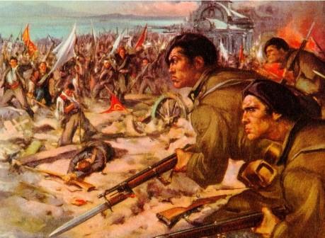 Raffigurazione della battaglia di Santander con i combattenti italiani della milizia in primo piano..jpg
