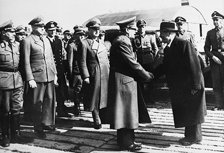 Germany Benito Mussolini with Adolf Hitler