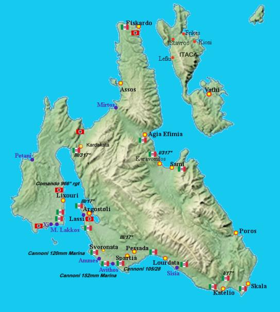 Le posizioni italiane e tedesche a Cefalonia l'8 settembre 1943