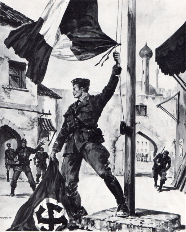 Il sottotenente dei Carabinieri Orazio Petruccelli ammaina la bandiera tedesca sulla piazza di Argostoli, presidiata