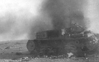M 75 18 dell'artiglieria Ariete in fiamme