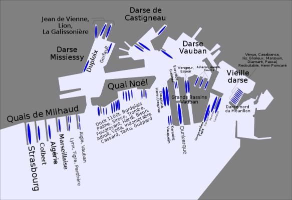 Mappa della base navale di Tolone, con la posizione delle unità francesi