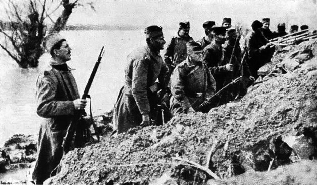Truppe serbe in trincea