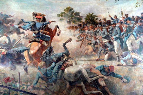la fanteria italiana respinge un attacco della cavalleria austriaca durante la battaglia di custoza