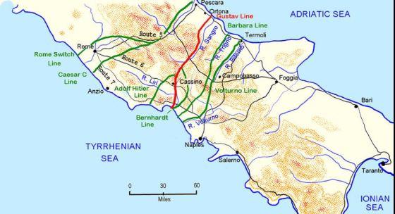 Le linee difensive tedesche intorno a Roma