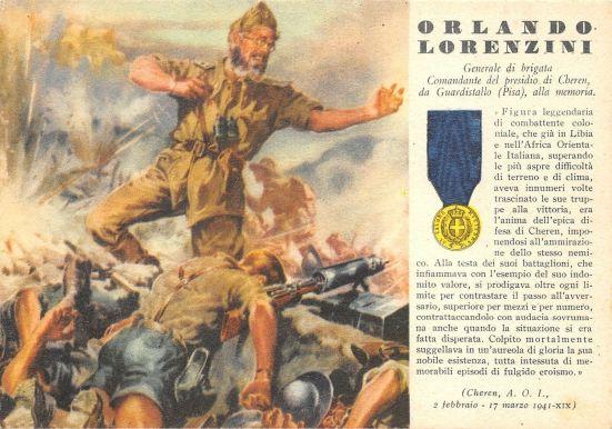 Cartolina dedicata al generale Lorenzini
