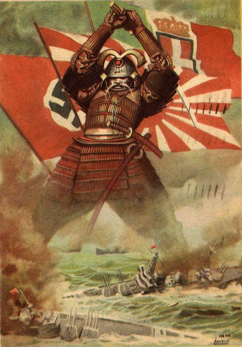Cartolina italiana del 1941 dedicata all'attacco giapponese alla flotta americana a Pearl Harbor