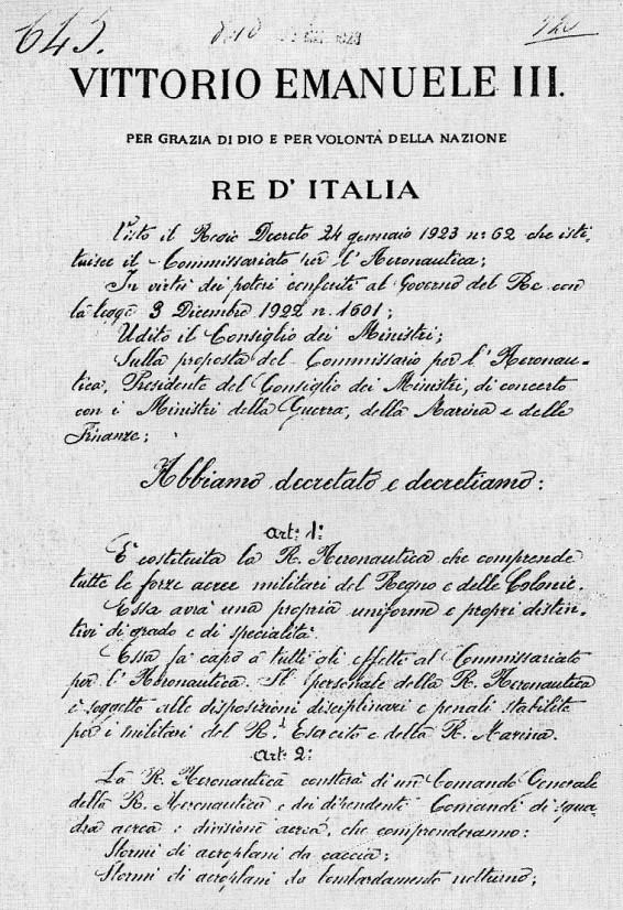 Regio decreto numero 645 con cui il 28 marzo 1923 veniva costituita la Regia Aeronautica del Regno e delle Colonie..jpg