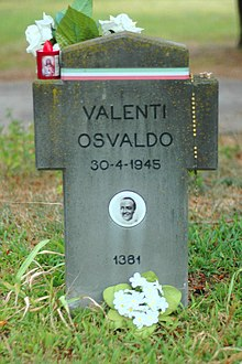 Tomba di Osvaldo Valenti nel Campo X del Cimitero Maggiore di Milano