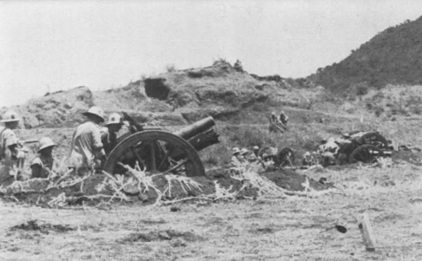 Artiglieri sudafricani impegnati nella battaglia dell'Amba Alagi