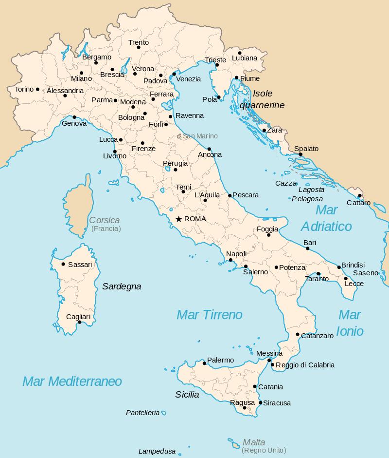 Il Regno d'Italia nel 1941, dopo le annessioni della provincia di Lubiana e l'istituzione del Governatorato della Dalmazia