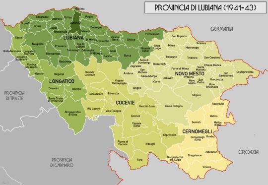 Mappa provincia di Lubiana