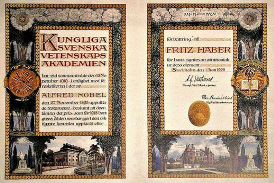 Il diploma del Premio Nobel di Haber conservato al museo dell'Università di Breslavia.JPG