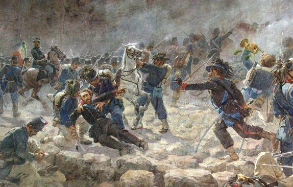 Il maggiore Giacomo Pagliari, comandante del 34º Bersaglieri, colpito a morte durante la presa di Porta Pia.jpg