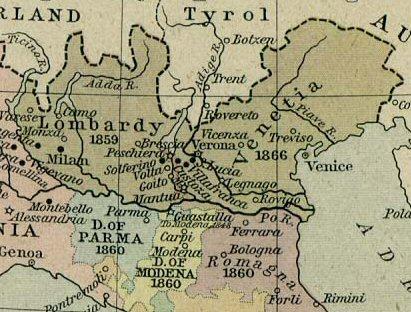 Il Regno austriaco del Lombardo-Veneto, teatro delle operazioni della seconda guerra di indipendenza.
