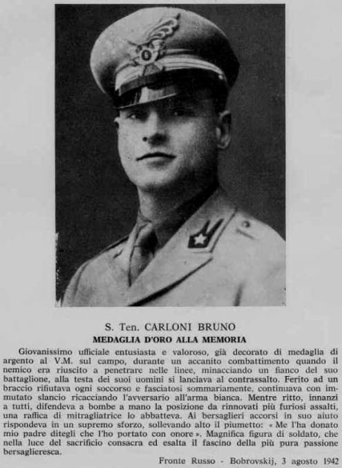 Bruno Carloni Medaglia d'Oro fronte russo con motivazione