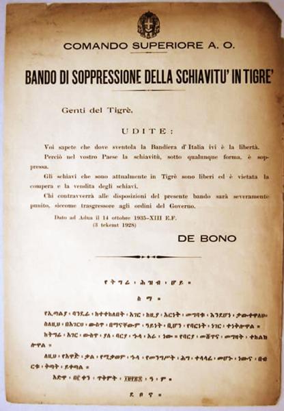 Bando di soppressione schiavitù in Tigrè14 ottobre 1935