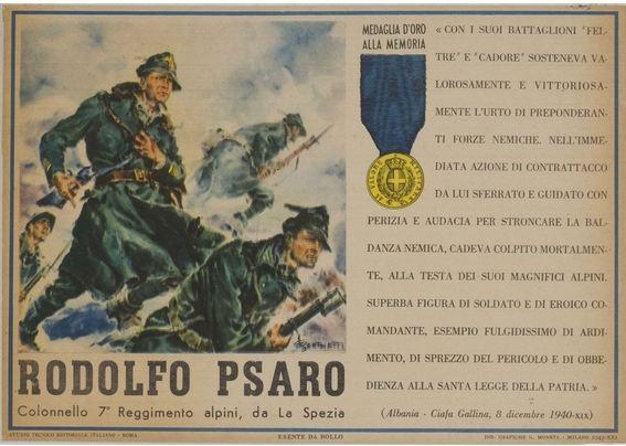 Cartolina dedicata a Rodolfo Psaro MEDAGLIA D'ORO 8 dicembre 1940 2