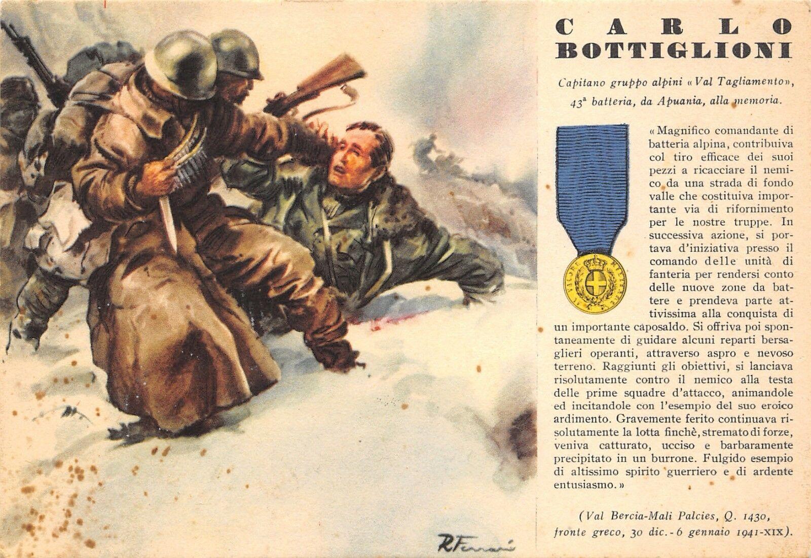 Cartolina dedicata a Carlo Bottiglioni MEDAGLIA D'ORO 6 gennaio 1941