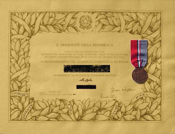 Medaglia e Diploma giorno del ricordo