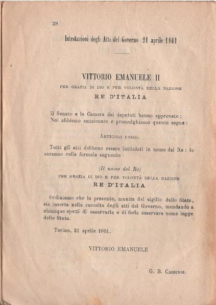 Seconda pagina del Decreto